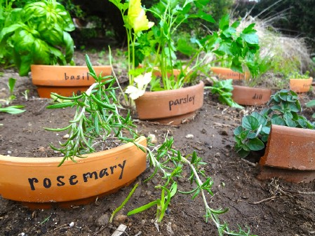 Broken Pots as Garden Markers
